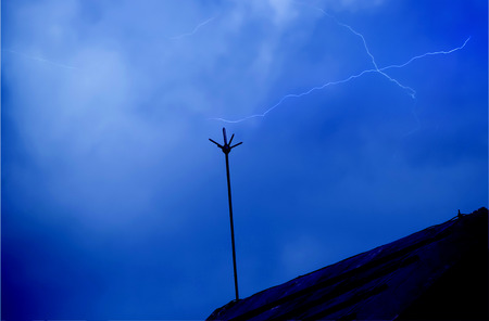 monsoon clouds: A lightning in the sky Stock Photo
