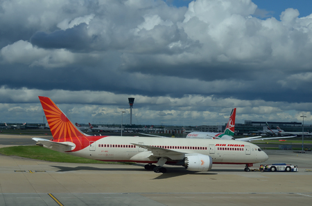 run way: Air India Boeing Delhi Airport.