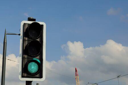 wispy: Green light traffic signals. Stock Photo