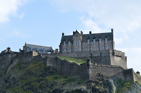 lothian: Edinburgh Castle. It is an extremely popular tourist destination all year round. This historic castle dominates the skyline of the city of Edinburgh.