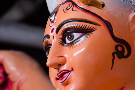 Durga Puja - the ceremonial worship of the mother goddess, is one of the most important festiva. A religious festival for the Hindus, In Kolkata, West Bengal,Goddess Durga idols being prepared for the festival Durga Puja. Its a 4 day long festival. India