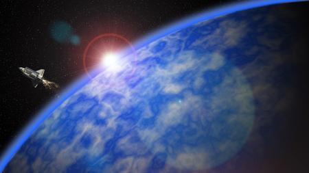 画像は、3 つの部分で構成されています: 空レンズ フレア iii スペース ・ シャトルと第二次地球表面の黒色。黒い空と地球の表面は、画像処理ソフトでガウス分布を使用してゼロから作製した.スペース ・ シャトルのみが撮影されました。
