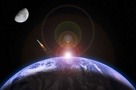 moon flower: The photograph describes the moon mission. The photograph of moon was captured by myself. The photograph of Earth and rocket are taken from the following NASAs website:  http:nssdc.gsfc.nasa.govphotogalleryphotogallery-earth.html http:www.nasa.govimagesc Stock Photo