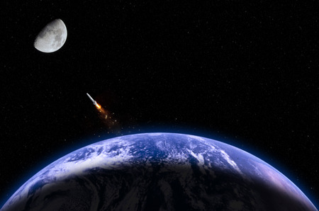 propulsion: The photograph describes the moon mission. The photograph of moon was captured by myself. The photograph of Earth and rocket are taken from the following NASAs website:  http:nssdc.gsfc.nasa.govphotogalleryphotogallery-earth.html http:www.nasa.govimagesc Stock Photo