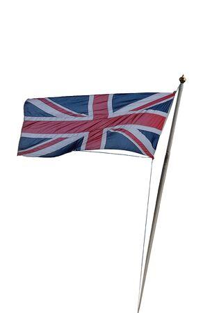 white flag: British flag is flying on white background. Stock Photo