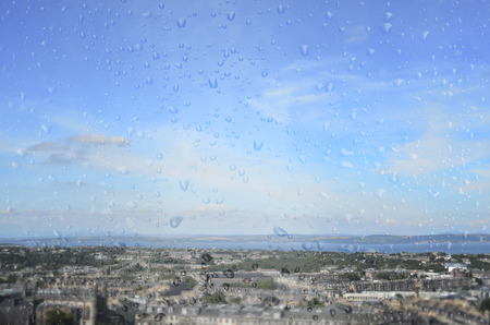 castle conditioning: In rainy season through window view of Edinburgh seen from Calton Hill.