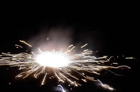festival occasion: Firecrackers on occasion of Indian festival of light. Stock Photo