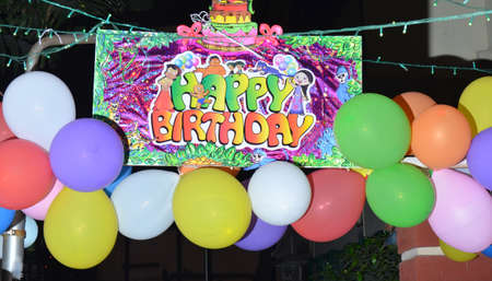 birth day: Colorful Balloons with happy birth day poster in a night.