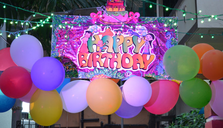 happy birth day: Colorful Balloons with happy birth day poster in a night.