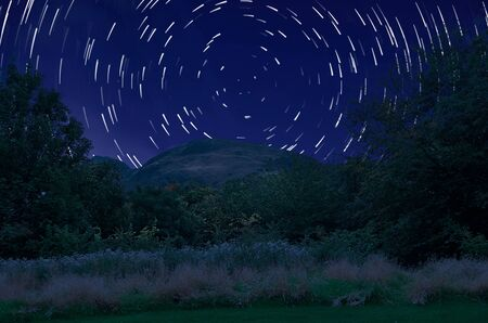 star trail: Star moving on the sky and milky way.  Star trail is software genarated. It consist almost 80 layers.
