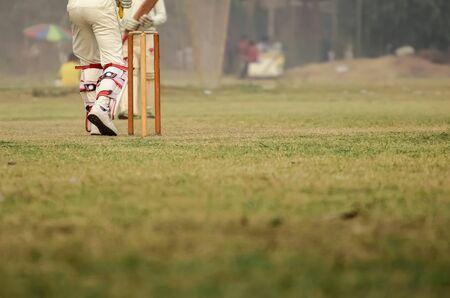 cricket field: Boys are playing cricket on Maidan area at Kolkata, India.