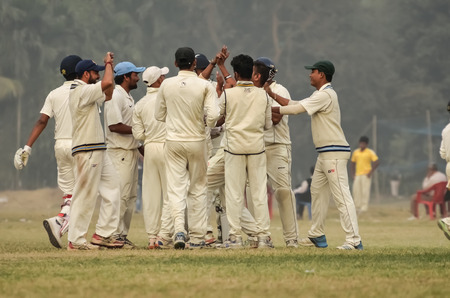 cricket field: Joy of a victory. Boys are playing cricket at Kolkata. Editorial