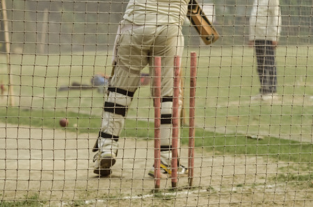 batting: Boy is practicing cricket batting in net. Stock Photo