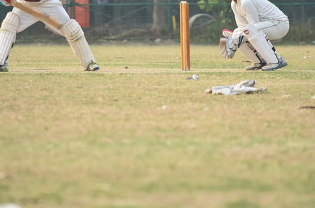 fluent: Boys are playing cricket on Maidan area at Kolkata, India. Maidan is a public place and anyone can capture photograph. I took the advantage of it and took the photograph. Stock Photo