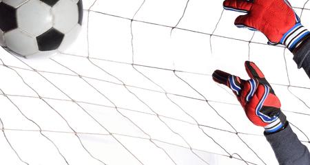 portero de futbol: entrenamiento de porteros de f�tbol en bola blanca.