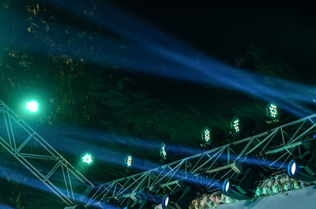 halogen lighting: Beam of stage light for live performance on black background. Stock Photo