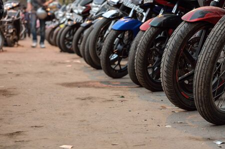 polluting: Row of polluting motor bike parked in Calcutta, India.