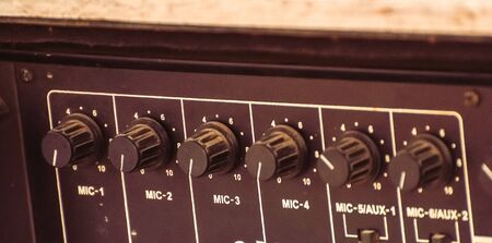 sound mixer: Close-up of sound mixer in the studio.