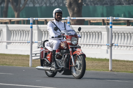 a white police motorcycle: During Independence Day practice security man practice their pared.