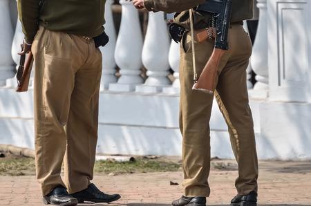 assault rifle: Security men with assault rifle.