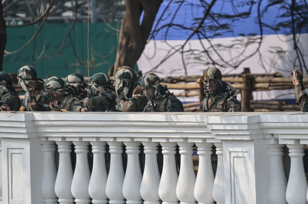 security equipment: Indian army looking practice of parade during republic day. Indian celebrate republic day. The ceremony is done by Indian army every year to salute national flag in 26th January. 26th January is the republic day of India. Editorial