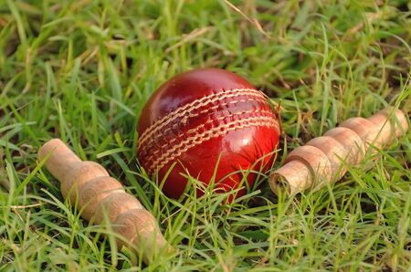 cricket field: Red leather cricket ball and bails on grass Stock Photo