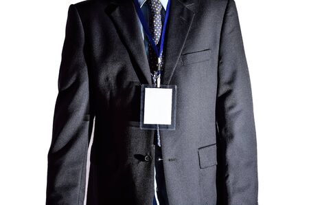 id badge: Businessman with blank ID badge