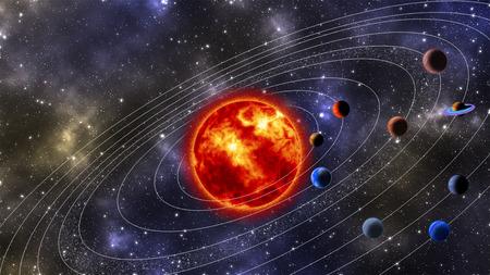 sistema: Sistema Solar Imagen generada digitalmente Foto de archivo