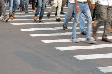 zebra crossing: Pedestrian are crossing in zebra crossing.