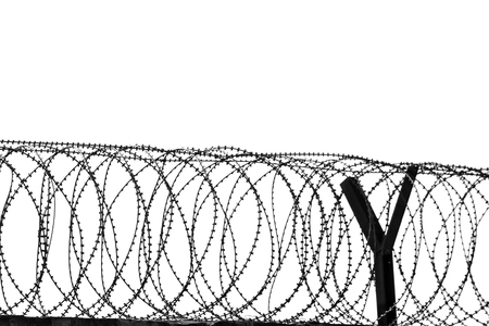 Barbed wire fencing around a prison.