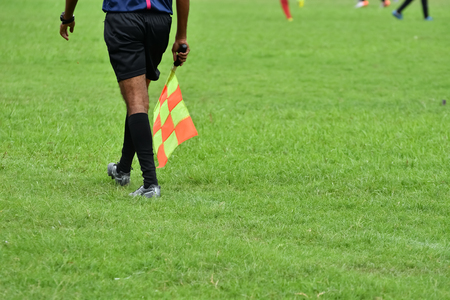 sideline: Assistant referee running along the sideline.