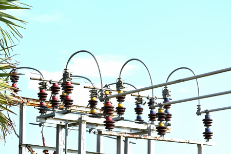 breaker: High voltage circuit breaker in a power substation.