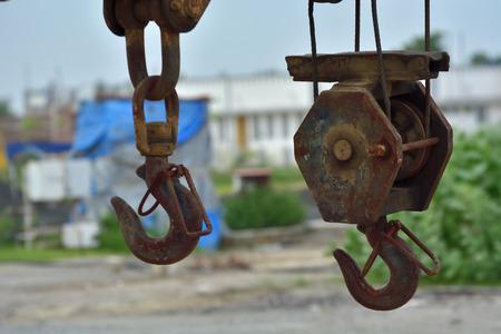 hook up: Crane hook is hanging Stock Photo