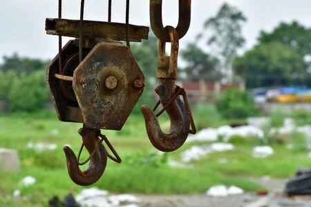 bonding rope: Crane hook is hanging Stock Photo