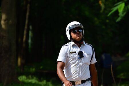 kolkata: Kolkata, India - September 13, 2016: Kolkata police is walking. During Eid festival Kolkata police manage crowd. Editorial