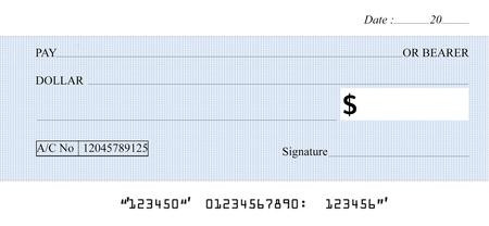 cheque en blanco: Cheque en blanco en el fondo blanco