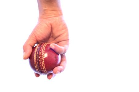 grip: Close-up of cricket bowler grip