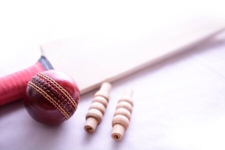 bails: Cricket bat, ball and bails on isolated white background