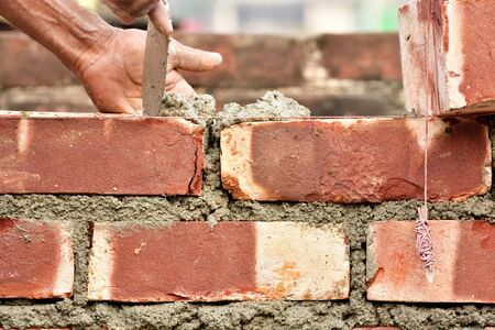 buildup: To build up a brick wall with trowel