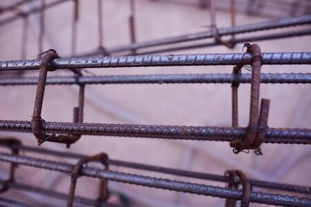 reinforcement: Steel bars, reinforcement concrete bars with wire rod. Iron Bars for House Construction,