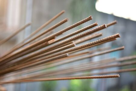 reinforcement: Rusty Iron rods rod in construction site Stock Photo
