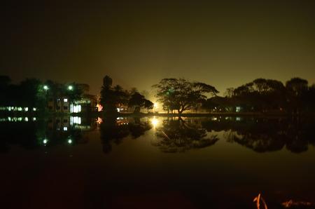 Residential area near pond