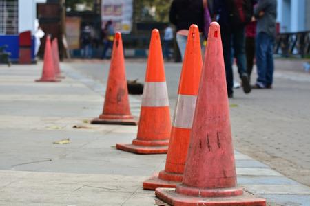 Traffic cones.  Lane Divider on empty road