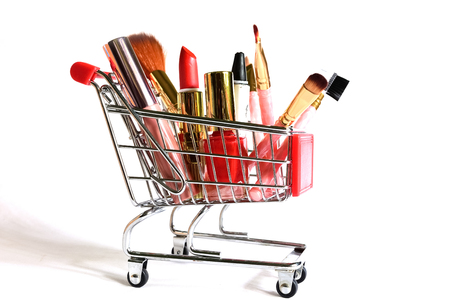 mack: makeup products in shopping cart Stock Photo