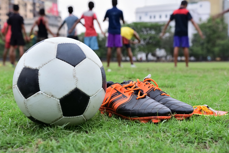 Soccer equipment in soccer pitch
