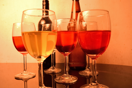 Colorful wine glass with wine in a bar Stock Photo