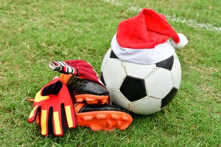 football equipment on football field Stock Photo
