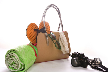 beach accessories on white background Stock Photo
