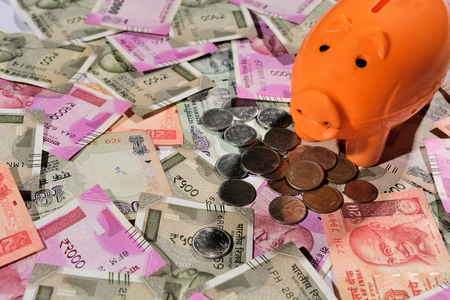 Saving Indian currency in Piggy bank