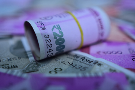 Indian paper currency 2000 note are roll up
